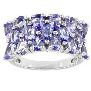 TANZANITE Sterling Silver Cluster Ring 2.80ctw
